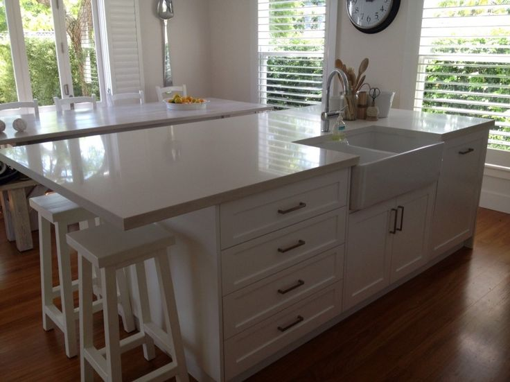 Splendid Kitchen Island with Sink also Large Silver Spoon Wall Decor and White Rectangular Breakfast Table with White Wooden Breakfast Chairs from Kitchen Island Plans