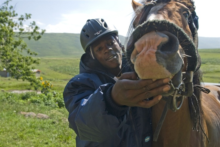 "Tsotetsi Lekhitla and ""pony with pockets"" at Semenanyane clinic in the mountainous district of Thaba-Tseka, eastern Lesotho"