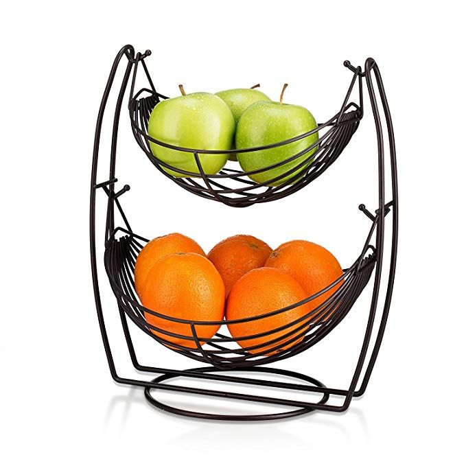 2 Tier Fruit Basket Double Hammock Kitchen Produce Storage