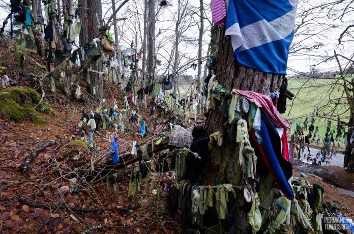 """For 100's of years, the Clootie Well at Munlochy has been a place of pilgrimage for spiritual healing. In Scottish dialect, the """"cloot"""" is a piece of cloth and these are hung by those seeking healing for themselves or others in the trees around a well. The idea is that the cloth, which has been in contact with the afflicted person, is left to disintegrate; as it does, the afflicted are healed of their pain or discomfort."""