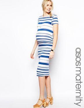 ASOS+Maternity+Midi+Dress+In+Stripe