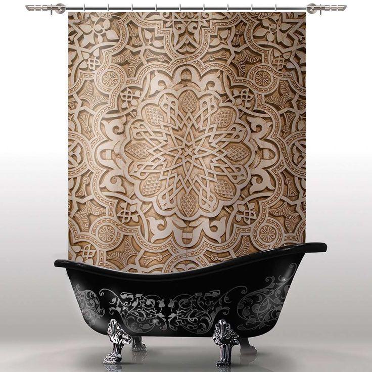 Занавеска изготовлена из плотного текстильного материала, пропитанного специальным водоотталкивающим составом. Верхний край с двойным загибом. Крепления - пластиковые кольца.