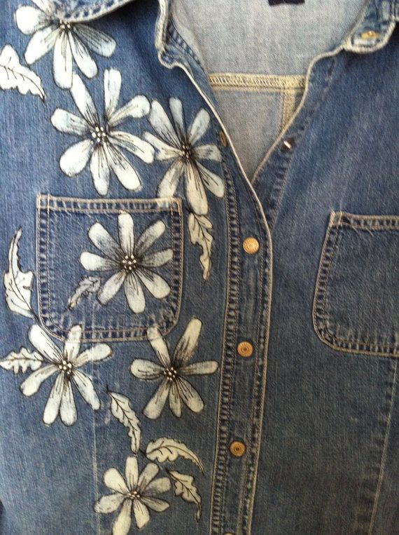Bleached Denim hand Painted Ladies Shirt by margaretgaunt on Etsy