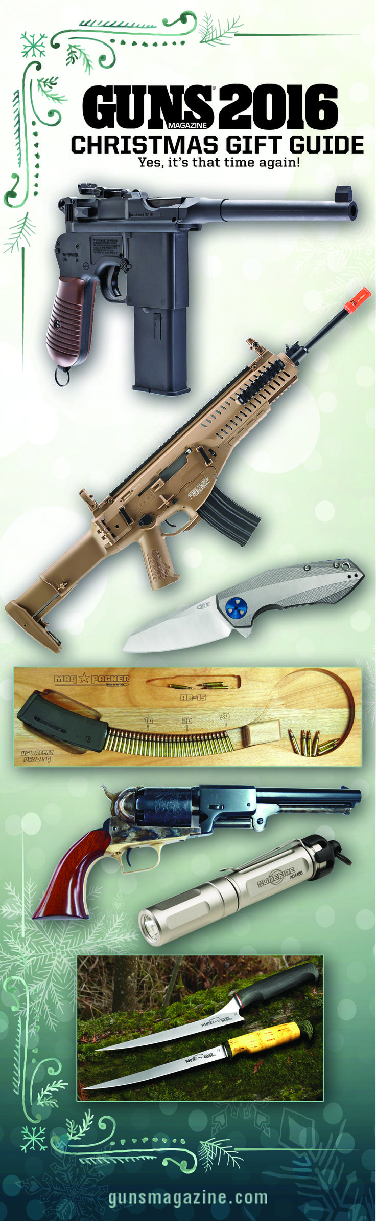 GUNS 2016 Christmas Gift Guide | Yes, It's That Time Again! | By John Connor | You folks know the drill: Look at the calendar, take a deep breath, grab a pencil and pad, and start filling in the blanks on your Christmas gift list! There's something here for all your shooting buddies and hunting pals, so let's get to it, shall we? | © GUNS Magazine 2016