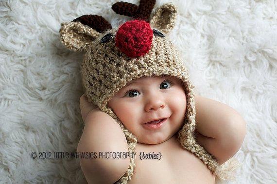 Baby Hat - Reindeer Hat - Baby Reindeer Hat - Oatmeal  Reindeer Hat - Cute and Soft Earflap Hat - by JoJosBootique