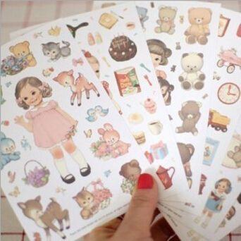 6sheets/pack New kawaii girl paper sticker/note sticker / Decoration label/ Multifunction/Super gift WJ0095