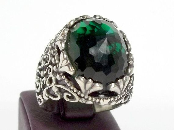 925 Sterling Silver Men's Ring with Totally by lunasilvershop, $289.90