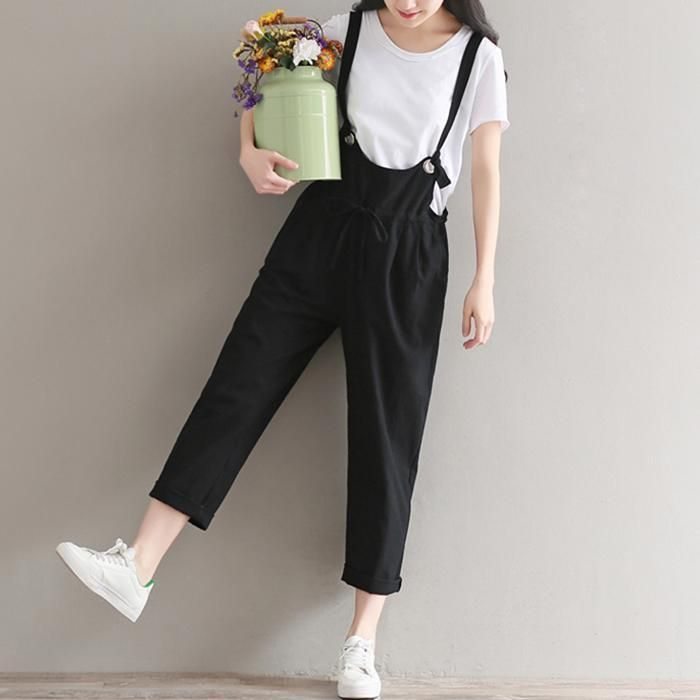 Womens Loose Overalls Rompers Summer Girls Pants Suspender Pants Jumpsuits Size