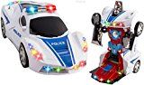 WolVol Transformers Robot Police Car Gadget with Lights and Sounds for children with Bump and Go Motion