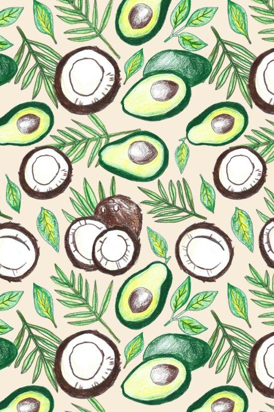 Coconuts & Avocados Art Print Coconut, Avocado and Patterns