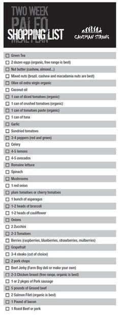 2 Week Paleo Diet Shopping List