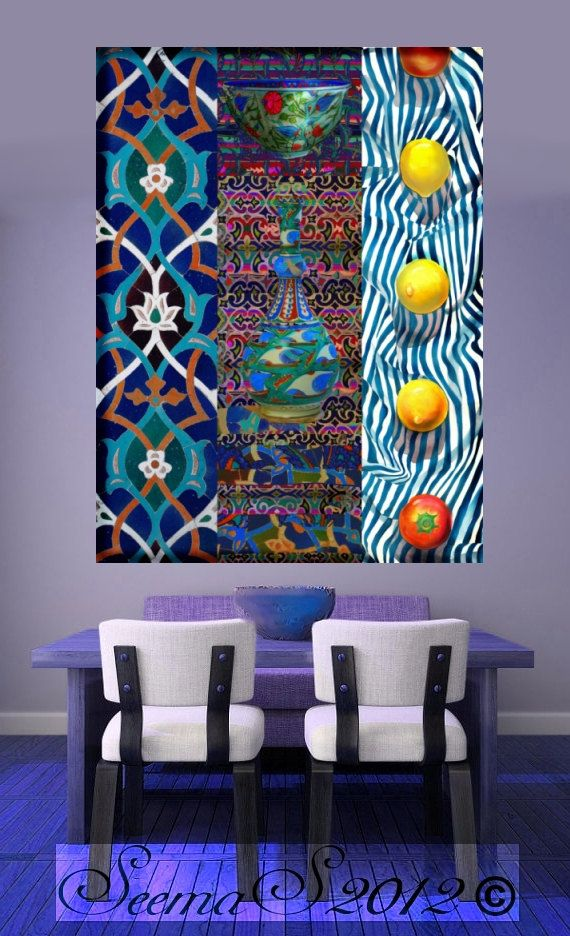 Checkout this amazing product Canvas Art Print,Lemon Blues,Arabesque,Dining Room,36x48,Large Home Decor,Morroccon,,$245