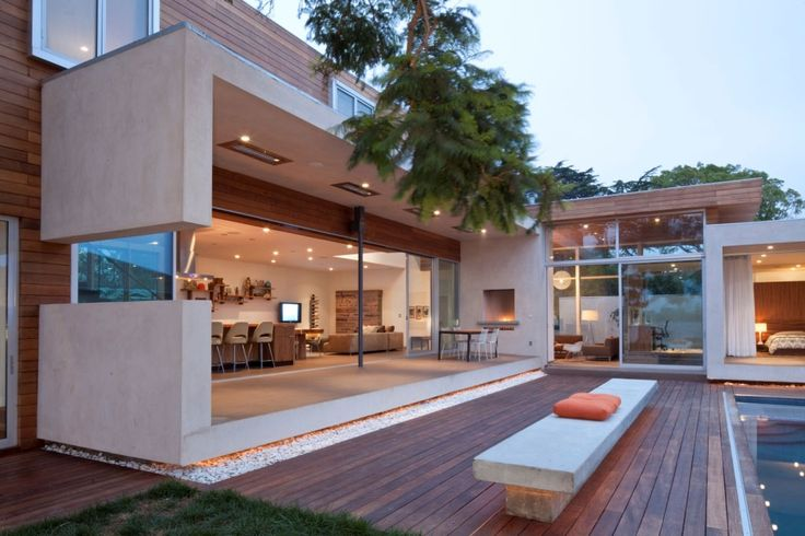 Terrace and open space living room Elegant Eco Friendly Appleton Residence in Venice, California