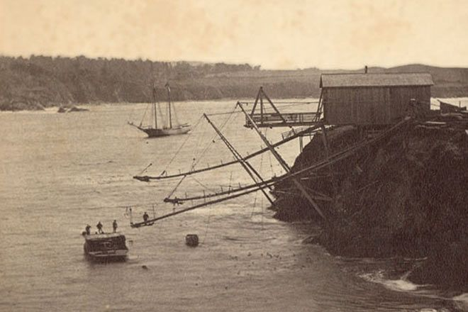 Chutes for loading redwood lumber from the Mendocino coast mills onto ships