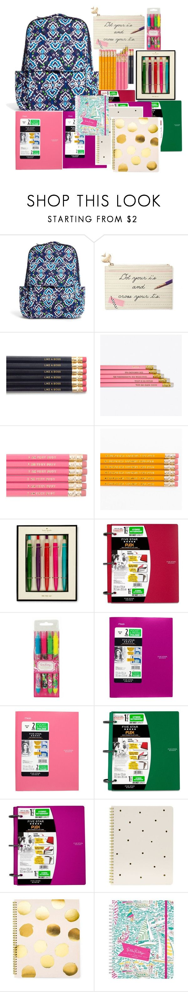 """""""School Supplies 2017"""" by nailsforashleywest on Polyvore featuring Vera Bradley, Kate Spade, Lilly Pulitzer, Sugar Paper, women's clothing, women's fashion, women, female, woman and misses"""