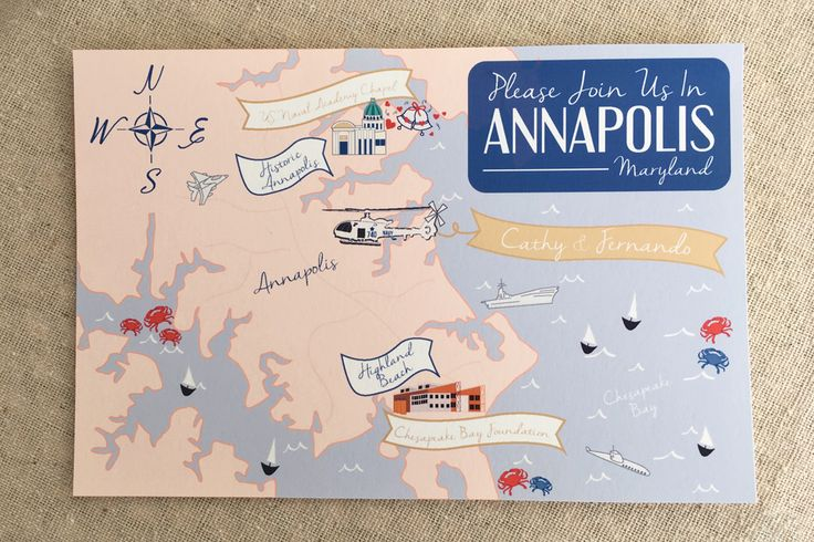 Dana Marino Design - Custom Maps - Annapolis Maryland Illustrated Map Save the Date - Navy Weddings  - danamarinodesign.com