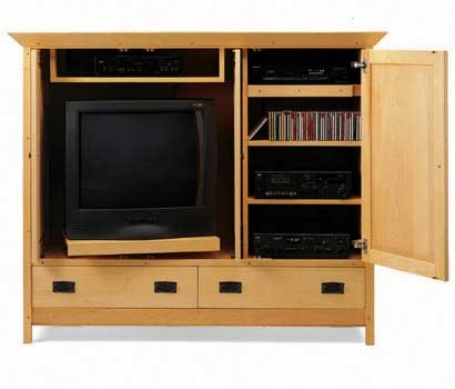 mission media cabinet from pompanoosuc mills american hardwood furniture hand crafted in vermont