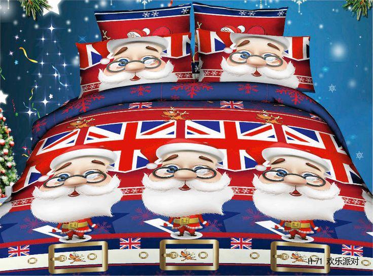 Santa Claus 3D RED Mickey Mouse kids print Princess bedding set bedclothes 100 Cotton Duvet Comforter