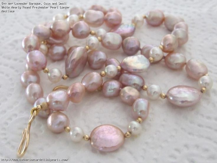 AA+ Lavender Baroque, Coin and Small White Nearly Round Freshwater Pearl Longer Necklace