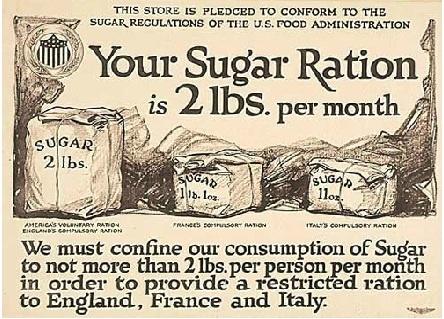 Sugar rations, WWI - America