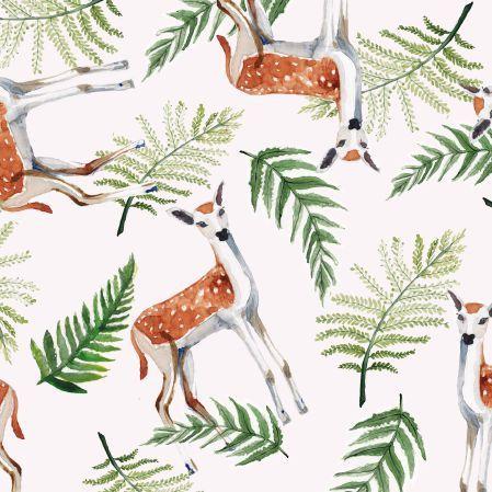 Oryginalny materiał do szycia Sarenki! z kategorii Zwierzęta - liście, paprotka, las, sarny. Materiał zaprojektowany przez AgaKobylinska. Stwórz swój własny materiał do szycia lub skorzystaj z gotowych projektów wzorów CottonBee.pl