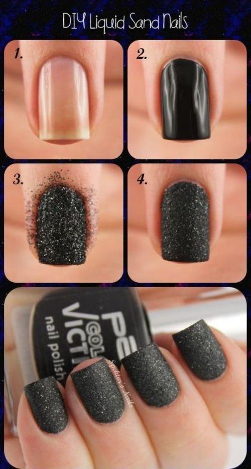 Uñas negras llenas de brillantina - http://xn--decorandouas-jhb.com/unas-negras-llenas-de-brillantina/