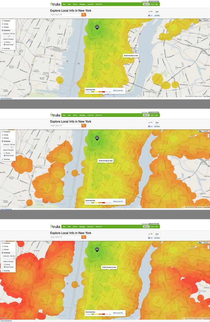 Trulia Local - heat map commuter visualization - LOVE IT