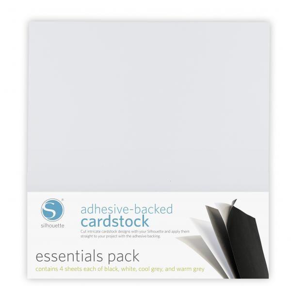 Cartoncino Cardstock adesivo Colori Essential 30x30cm CARDSTOCK-PK1 - Cartoncino adesivo con finitura goffrata. 8 colori base. 16 fogli formato 30x30cm