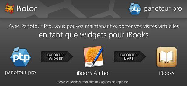 Avec Panotour Pro, vous pouvez exporter vos visites virtuelles en tant que widgets pour iBooks