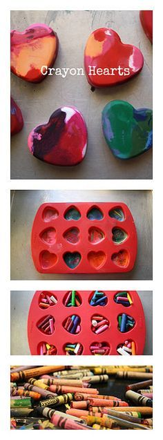 Melted Crayon Hearts- a fun project for a rainy day