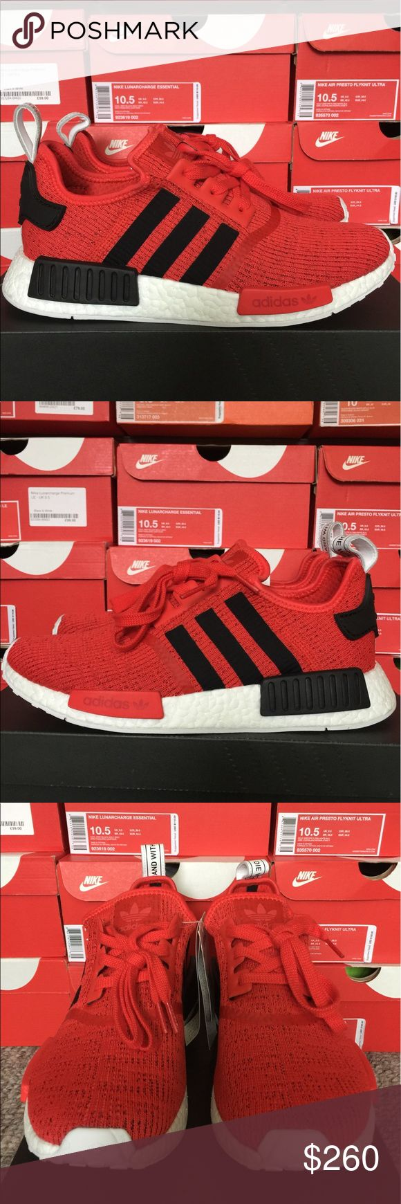 Adidas NMD_R1 BRAND NEW!!! Adidas NMD_R1 BRAND NEW!!! Size:9.5 Core Red & Core Black  All items being sold are guaranteed 110% authentic, genuine, and real product. No fakes no replicas NEVER!! trusted and reliable seller on multiple sites for over 10+ years.thank you very much for all inquiries enjoy your shopping experience. adidas Shoes Sneakers