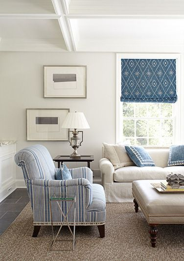 clean and fresh blue and white stripes with nailhead trim on tape: James Of Arci, Romans Blinds, Cottages Living Rooms, Decor Ideas, Romans Shades, Window Treatments, Beaches Houses, Accent Chairs, Blue And White