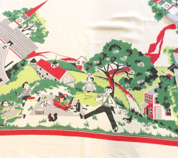 Vintage Tablecloth Fab 50s Family Goes for a by unclebunkstrunk