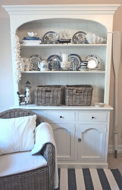 Beach House Blue And White A Great Way I Can Use My Willow With Hutch IdeasCabinet IdeasDining Room