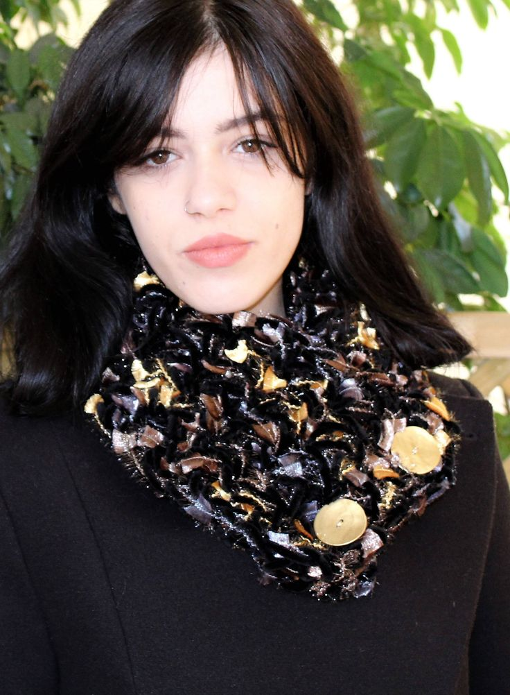 Excited to share the latest addition to my #etsy shop: Christmas gift wife, Sparkly accessories, Buttoned neck warmer, Luxury accessories, Gold button scarf, Evening accessory, Free shipping http://etsy.me/2AJVoZa #accessories #scarf #black #birthday #christmas #gold #christmasgi