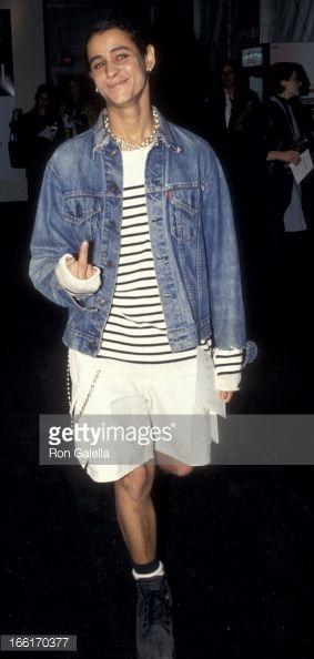 Jaye Davidson attends Fall Fashion Week Tanya Sarne Fashion Show on April 8, 1994 at Bryant Park in New York City.