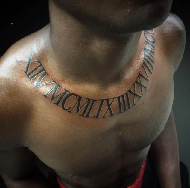 Roman Numeral Chest Tattoo by Wady