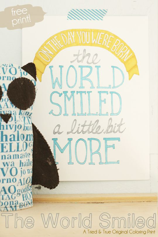 "Print ""The World Smiled"" Coloring Print from Tried & True and color any way you want!"