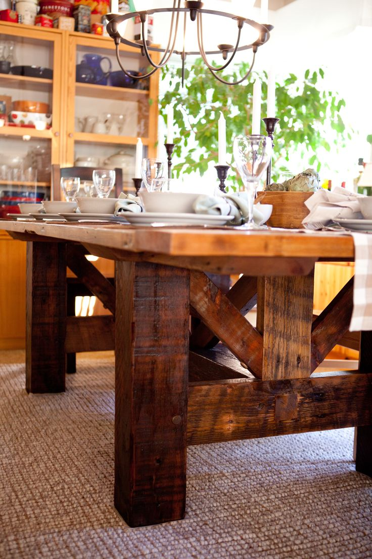 25 best rustic kitchen tables ideas on pinterest diy dinning post beam legs i like this as an island in the kitchen