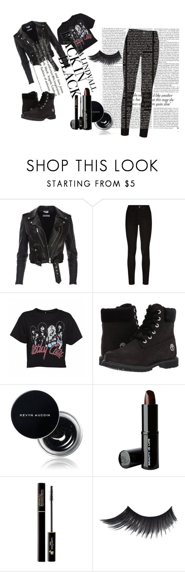 """""""Biker black"""" by elfafungian on Polyvore featuring Paige Denim, Victoria Beckham, H&M, Timberland, Kevyn Aucoin, Beauty Is Life and Lancôme"""