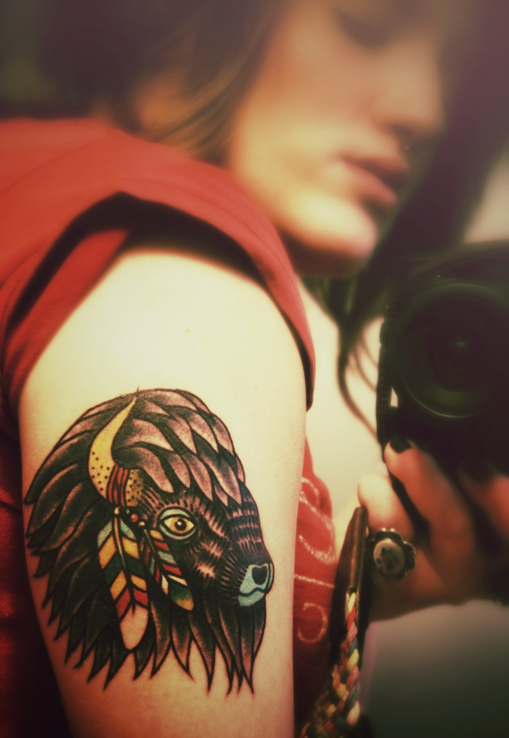 Traditional Buffalo tattoo by Matt Pike Tattooer this tattoo is inspiration not to be reproduced. Be your own person. Respect the tattooist. If the artist you go to is willing to do a copy of this they're not a real artist. Mais