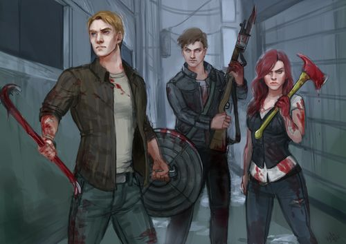 """""""This isn't a war, Steve, it's a back alley… a back alley with zombies."""" Steve, Bucky and Natasha in a Zombie Apocalypse AU. Yesssss."""