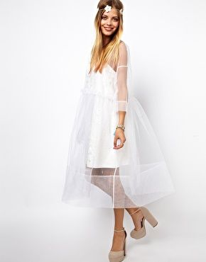 Molly Goddard Embroidered Long Sleeve Smock Dress