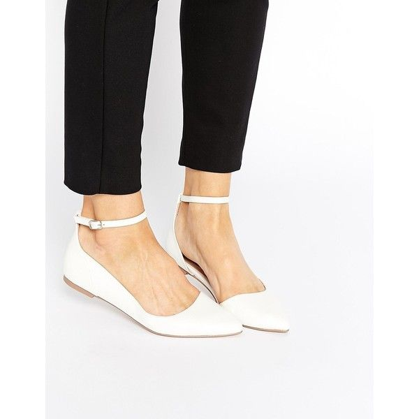 ASOS LOUISA Pointed Ballet Flats (1,450 DOP) ❤ liked on Polyvore featuring shoes, flats, white, white flats, ballet flats, pointy toe ankle strap flats, ankle strap flats and ballet shoes