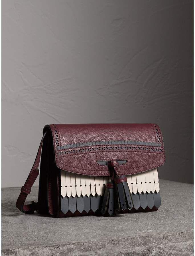 ebea6e30e778 Burberry Brogue and Fringe Detail Leather Crossbody Bag