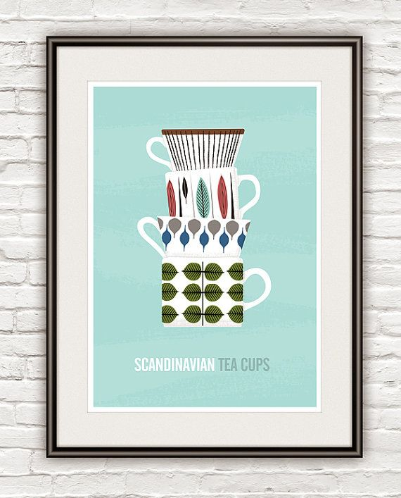 Kitchen art print scandinavian design Stig Lindberg Tea by handz, $21.00