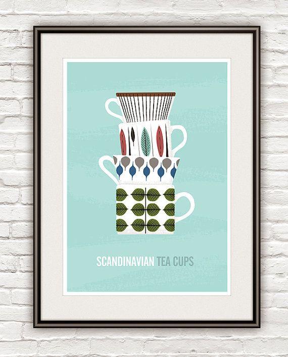 Kitchen art print scandinavian design Stig Lindberg Tea di handz