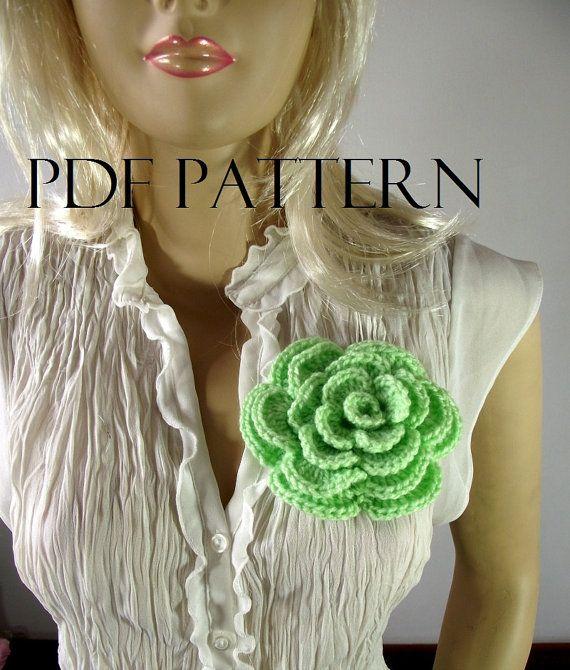 Crochet PATTERN Flower Brooch Pin Embellishment by LiliaCraftParty