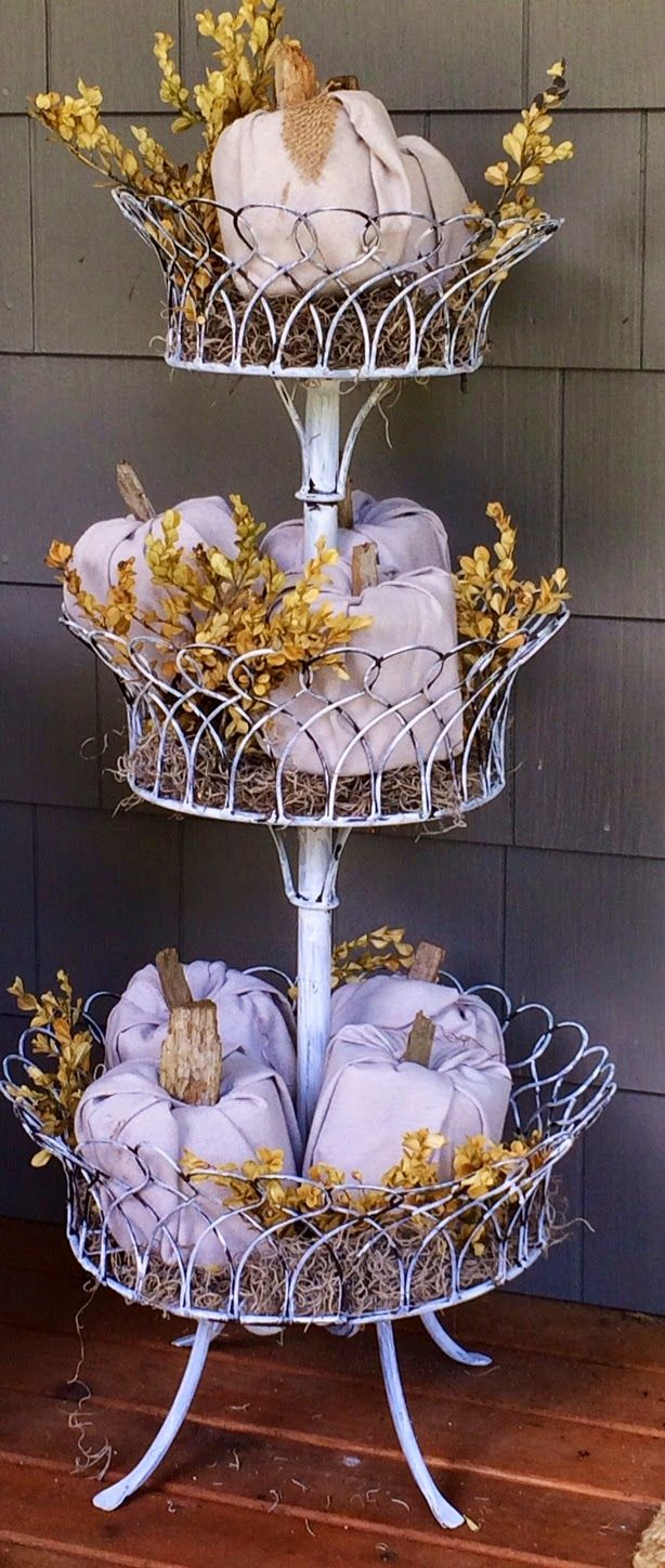 **1**Pumpkins made of drop cloth and toilet paper rolls, in a tiered stand....Gates, Pumpkins and Little Glimpses of Fall...