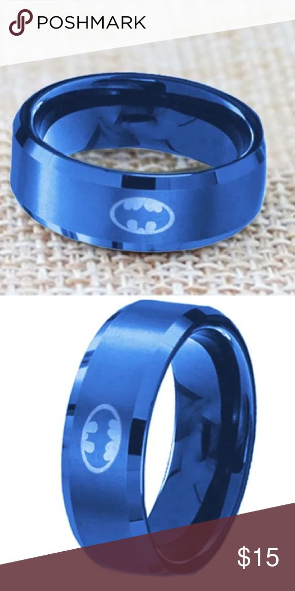 Amazing Titanium Blue Batman Ring Size Boutique